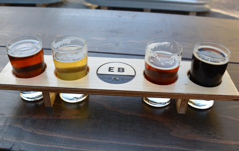 East Brother Beer Co. serves five different beers: Red Lager, Wheat IPA, Oatmeal Stout, Red IPA, 80 Pils.