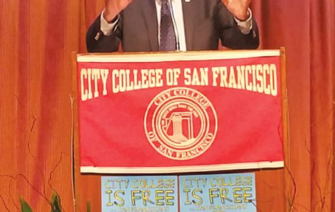 "Senator Bernie Sanders speaks to a full crowd at the ""Free City"" celebration at City College of San Francisco on Friday."
