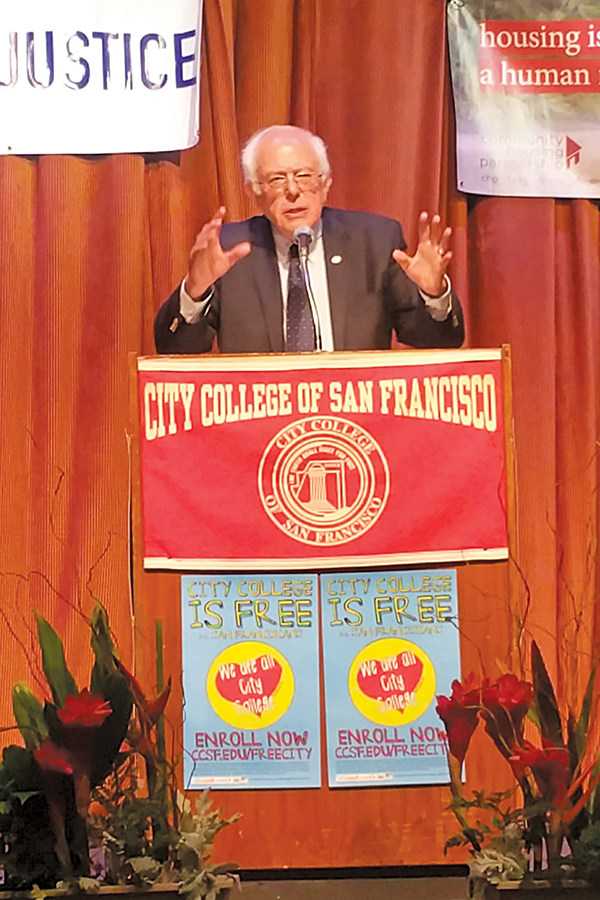 Senator+Bernie+Sanders+speaks+to+a+full+crowd+at+the+%E2%80%9CFree+City%E2%80%9D+celebration+at+City+College+of+San+Francisco+on+Friday.