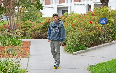 Without any notification that skating is not allowed, a student rides a penny board on the pathway leading from the Library to Parking Lot 9 on Sept. 13.