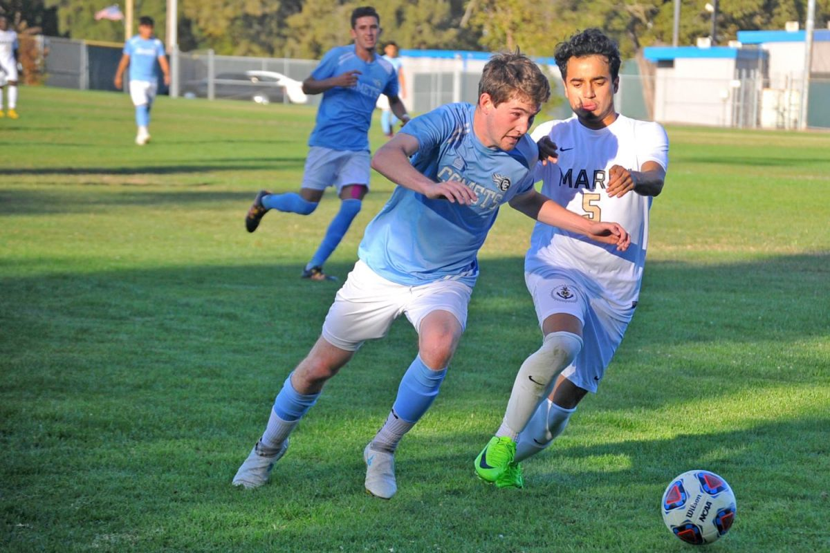 Comet foward Anthony Maytum dribbles past Mariner defender Jerry Maldonado during Contra Costa College's 5-1 win against College of Marin in the Soccer Field on Tuesday.