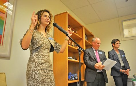 Contra Costa College president Mojdeh Mehdizadeh talks to the crowd at attendance during a Foundation fundraising event held at Eric Zell's office in Point Richmond on Sept. 28.