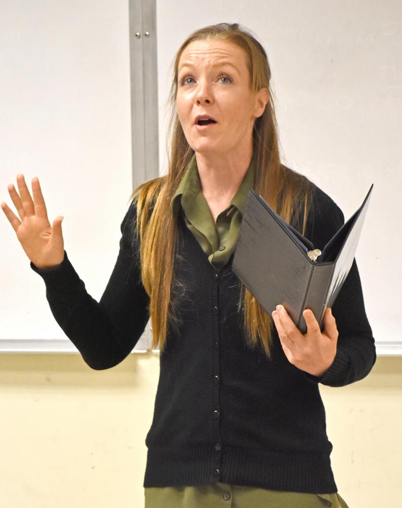 Speech major Jamie Barnhart performs a dramatic interpretation during the speech and debate team's practice on Tuesday.