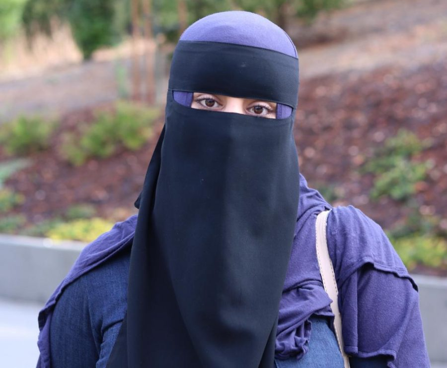 Rayah Alammari wears a Niqab by choice every day as part of her devotion to the Islamic faith.