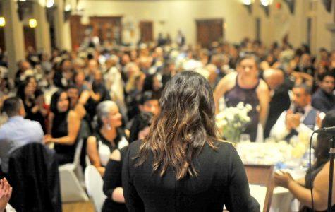 Former Metas program coordinator Mayra Padilla speaks during the 30th anniversary gala dinner in Berkeley Country Club in El Cerrito on Nov. 17.