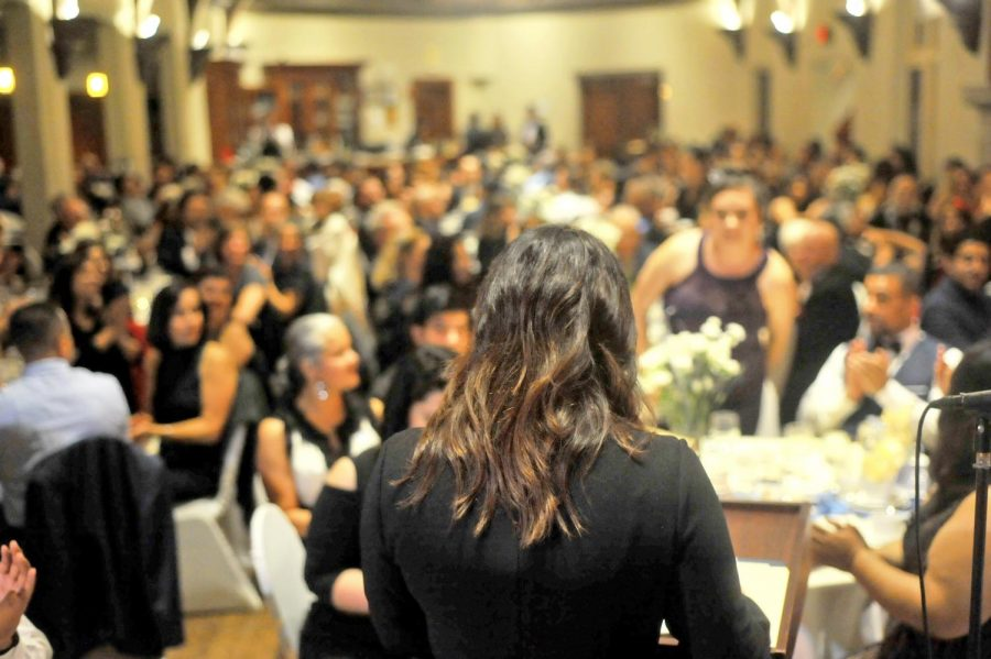 Former Metas program coordinator Mayra Padilla speaks during the 30th anniversary gala dinner in Berkeley Country Club in El Cerrito on Nov. 17.
