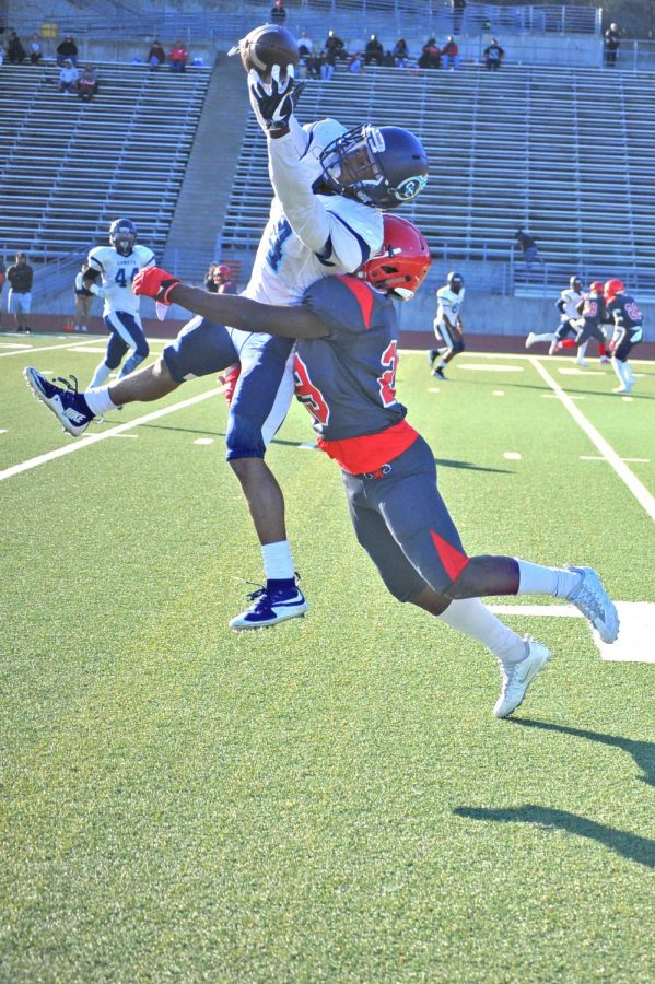 Contra Costa College wide receiver Semaj Mitchell makes a catch above Ram defensive back Tyrik Mack during City College of San Francisco's 62-6 win in San Francisco on Saturday.