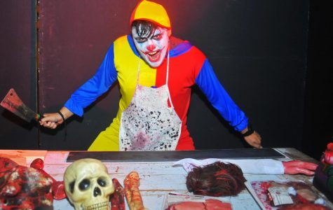 The first scare spot of the carnival scream house was a greeting desk manned by a killer clown with a knife in the Knox Center on Tuesday.