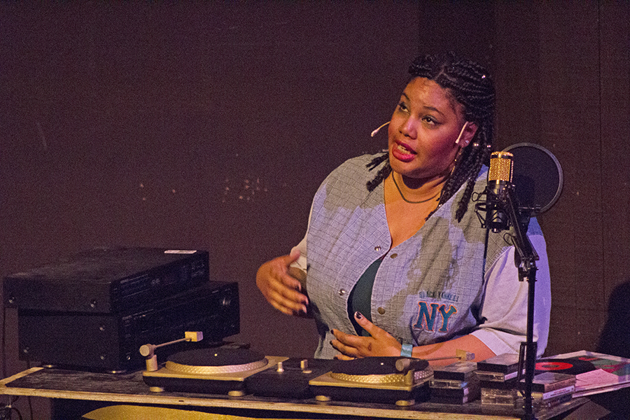 "Selector, played by Akilah Kamau, narrates the action in the hip-hop inspired play ""How We Got On"" in the Knox Center on Thursday. The play continues this weekend."
