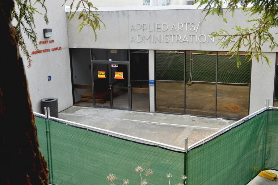 The Applied Arts Building  has been fenced off during its renovation, which continues through the 2018 spring semester.  The renovations are planned to be completed by the end of the semester.