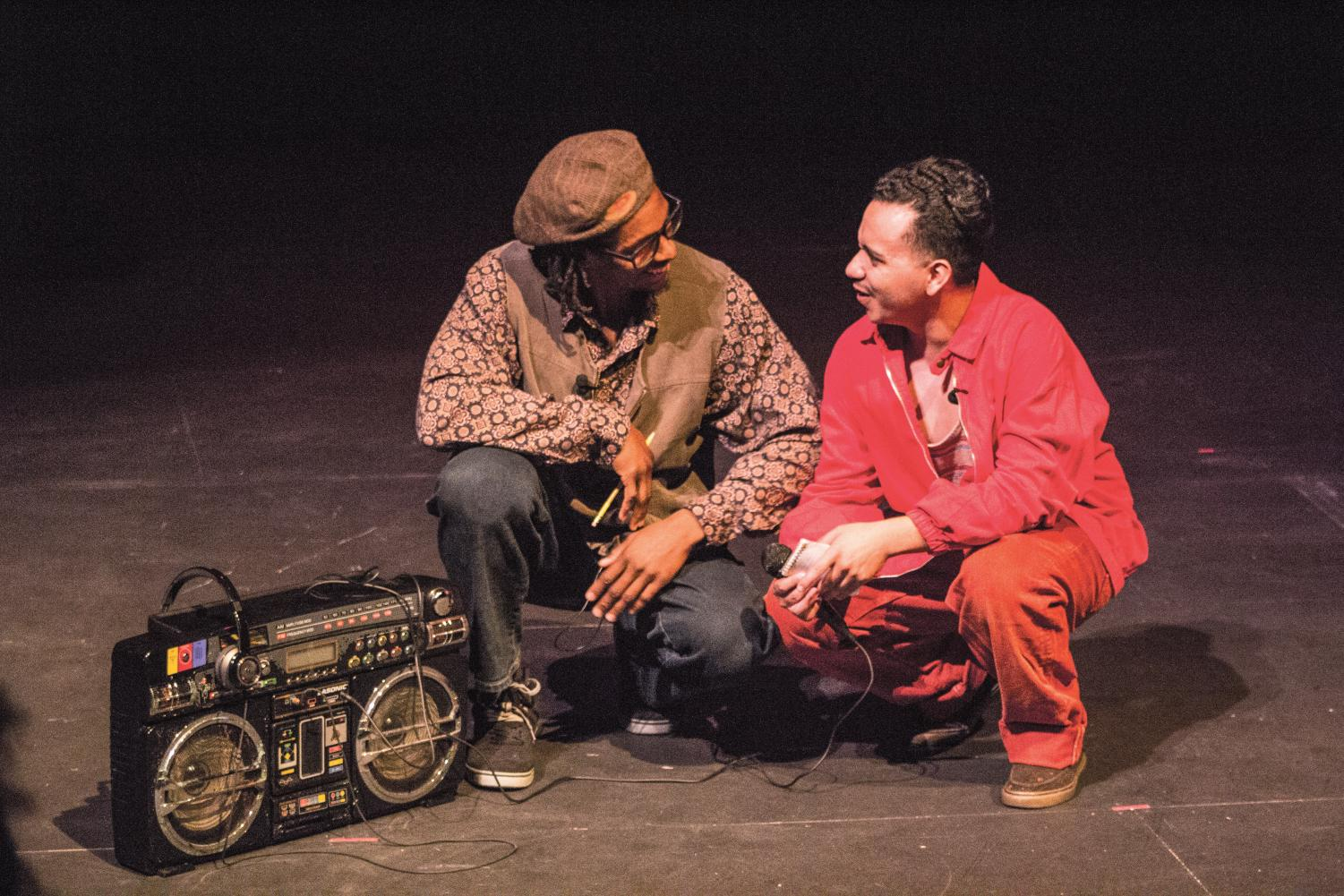 "RIGHT: Umi Grant (left) and Oz Herrera-Sobal (right) perform a scene from ""How We Got On."" The play is nominated for presentation at the Kennedy Center American College Theater Festival in Spokane, Washington. The festival will take place Feb. 19-23."