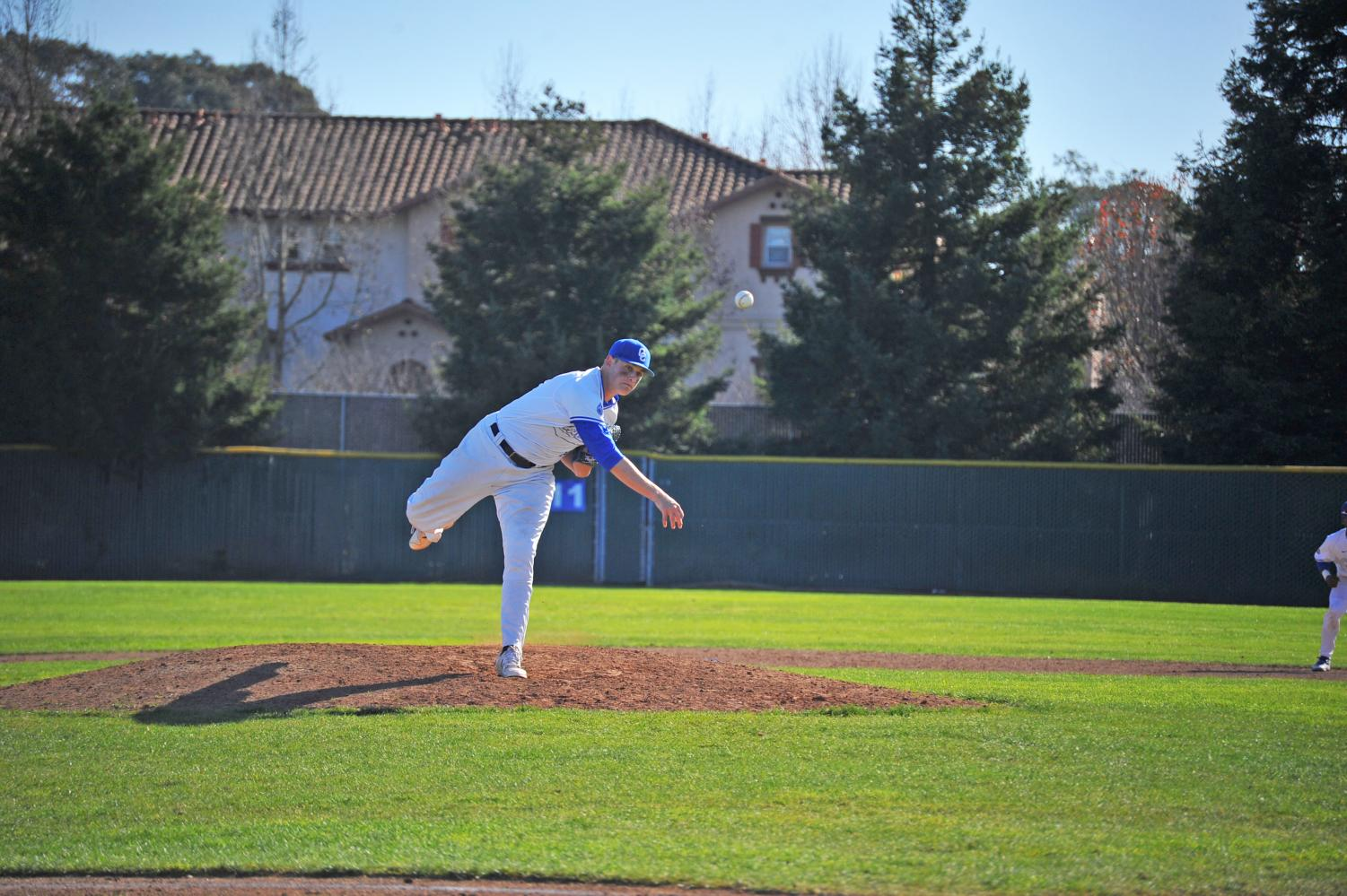 Comet Jake Dent pitches during Contra Costa College's 9-0 shutout loss against De Anza College Saturday on the Baseball Field.