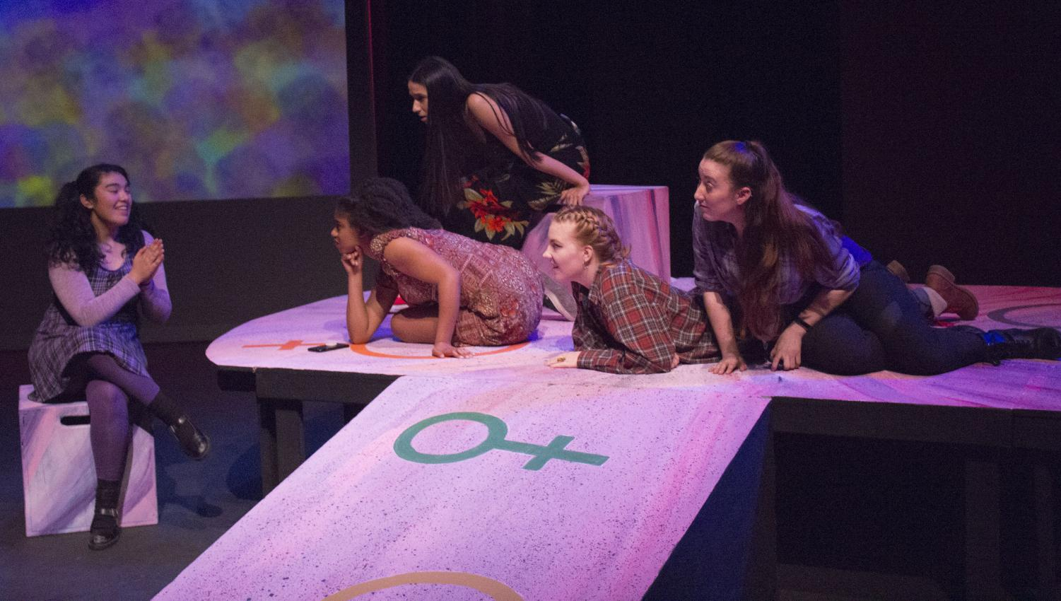 "Jelaine Maestas (left), Kamaria McKinney (middle left), Lissette Maravilla (center), Tayler Meulpolder (middle right) and Irena Miles (right) perform a scene set at a sleepover in ""Emotional Creature"" directed by Kathryn McCarty in the Knox Center on Friday."
