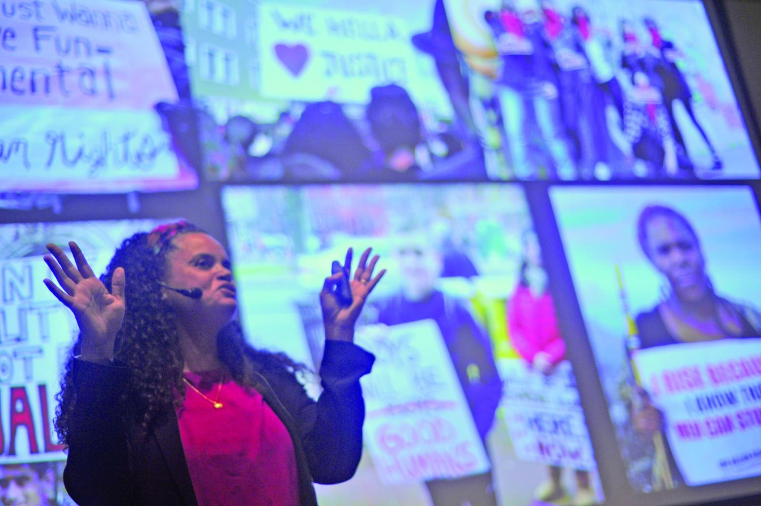 Executive Director of the East Bay Community Law Center Tirien Steinback shares her struggles and triumphs in GE-225 with an audience packed with faculty, staff and students during International Women's Day celebration on campus March 8.