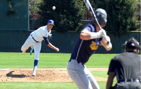 Comet pitcher Jake Dent throws a pitch in the third inning of Thursday's 10-3 loss to Mendocino College on the Baseball Field.