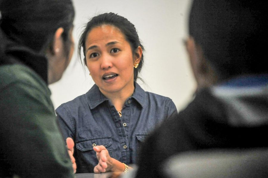 Aerospace engineer Mae Guzman speaks to Science, Technology, Engineering and Math (STEM) students about her journey from Contra Costa College to UC Davis after her Stem Café seminar in GE-225 on April 4.