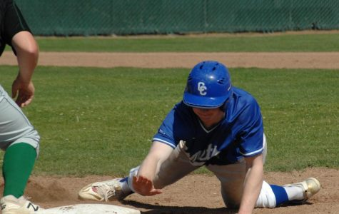 Comet right fielder Dylan Wilson dives back to first base to beat the throw following a shallow pop fly in the second inning of CCC's season-ending victory against Napa Valley College Friday at the Baseball Field.