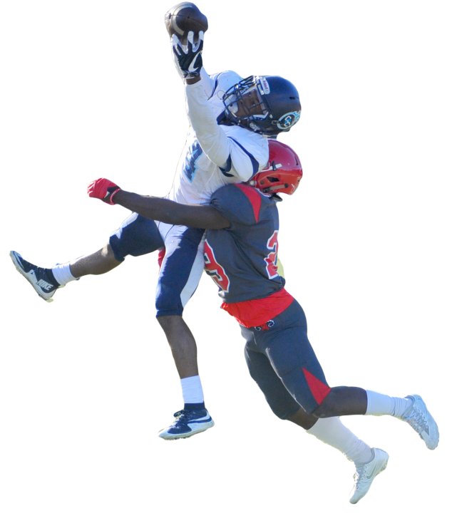 Contra Costa College wide receiver Semaj Mitchell makes a catch above Ram defensive back Tyrik Mack during City College of San Francisco's 62-6 win.
