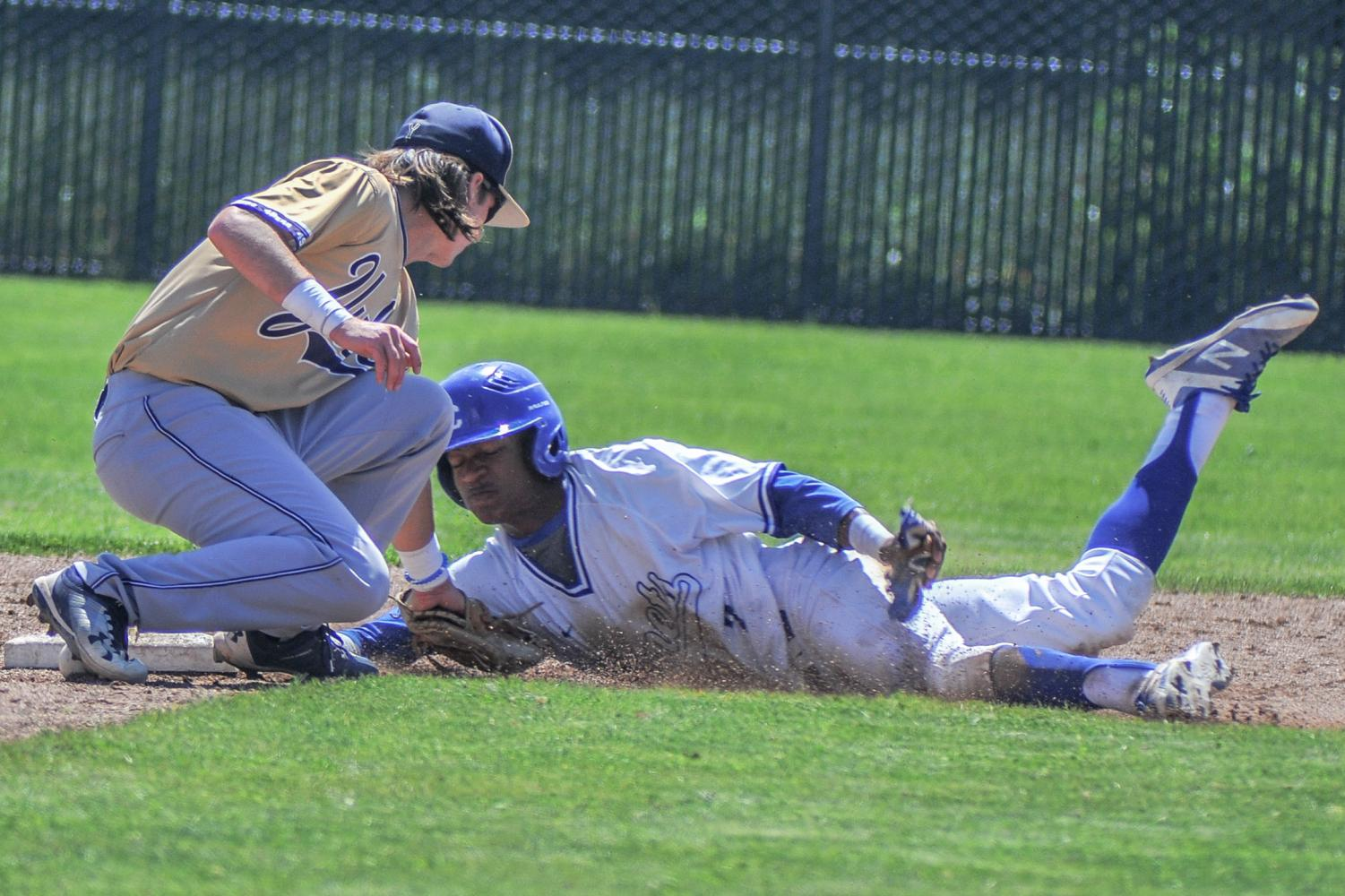 A Comet player slides safely into second base during Contra Costa College's 8-2 win against Yuba College on April 14 on the Comet Baseball Field.