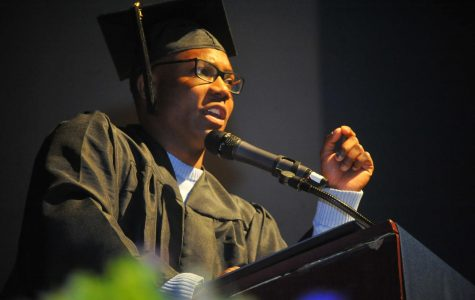 Associated Student Union President Alexander Walker-Griffin gives a speech to the Contra Costa College graduation class of 2018 during the graduation ceremony at the Richmond Auditorium on May 25.