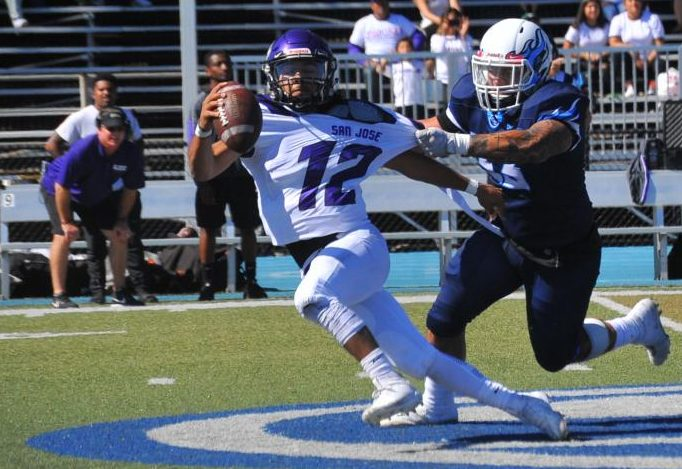 San Jose City College quarterback George Landeros escapes pressure exerted by Comet linebacker R.J. Ma'ae during CCC's 23-14 loss on Saturday at Comet Stadium.
