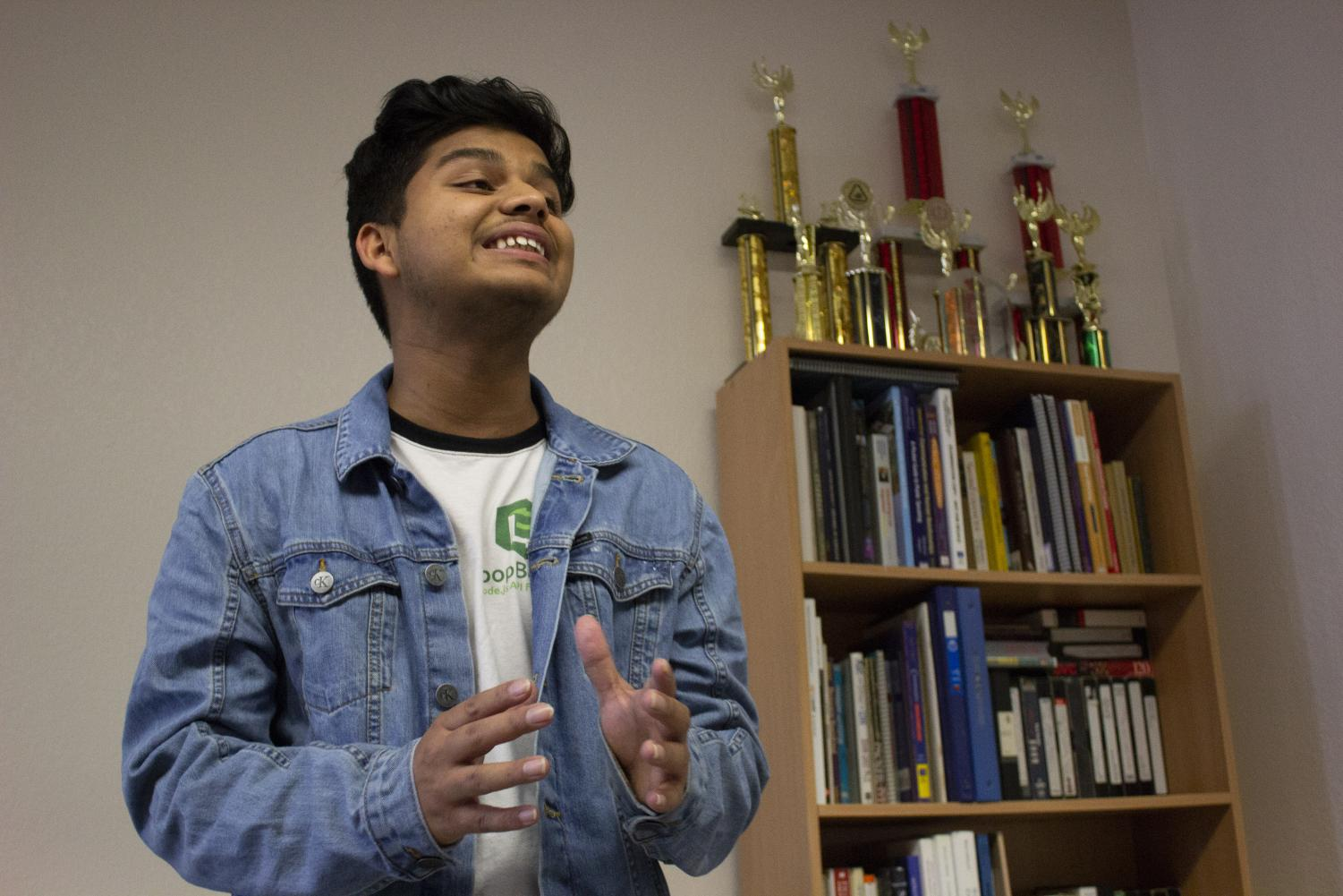 Speech team captain Shreejal Luitel practices a persuasive speech for an upcoming speech tournament in Stockton in the Speech Lab in AA-219 on Monday evening.
