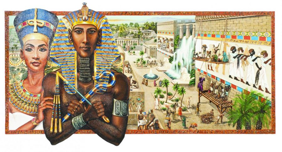 Akhenaton+Pharaoh+of+Egypt+%281375-1358+B.C.%29%2C+by+Barbara+Higgins+Bond%2C%0Aplaces+him+with+his+wife+Queen+Nefertiti%2C+in+front+of+a+city.+Akhenaton+and+Nefertiti+were+the+first++%0Amonotheistic+rulers+in+history.+Their+reign+%0Aradicalized+the+Egyptian%0Acivilization%E2%80%99s+view+of+life.+%0A
