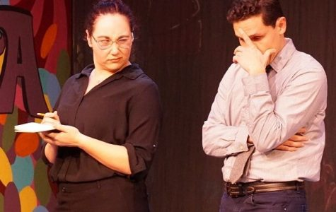 "Annabel Glick (right), played by Maria  Calderazzo, writes on a notepad as Harry Whiterspoon, played by Phillip Leyva, makes a facial expression during the production of ""Lucky Stiff"" at the Pinole Community Players."