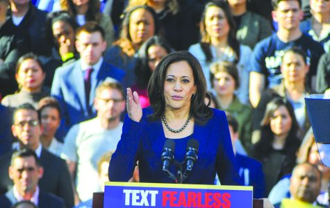 U.S. Senator Kamala Harris speaks to a crowd of around 20,000 people during the kick-off rally in Downtown Oakland, California on Jan. 17. Harris hopes to make history by becoming the first black female president in the 2020 election