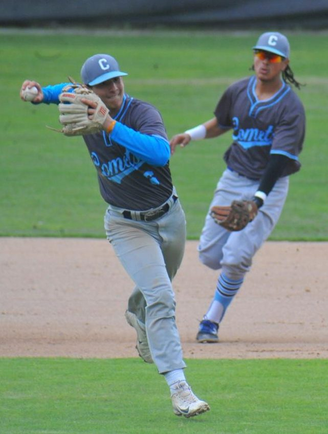 Comet shortstop Lucas Abbas throws a fielded ball as infielder Andruw Shaw runs behind him during Contra Costa College's 6-3 win over Los Medanos College on Friday at the Baseball Field.