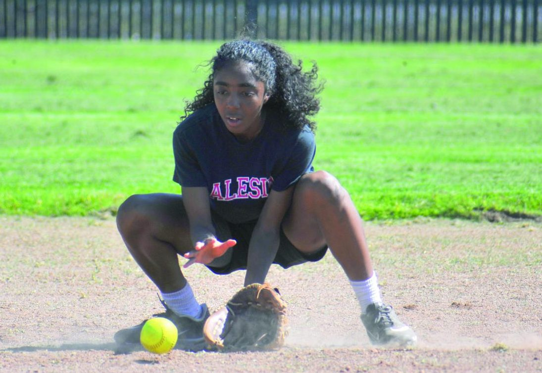 Comet infielder Sicaly Sorrell fields a ground ball during softball practice at the Softball Field on Monday. The team will have played its first game in a doubleheader against Mendocino College on Tuesday after press time.