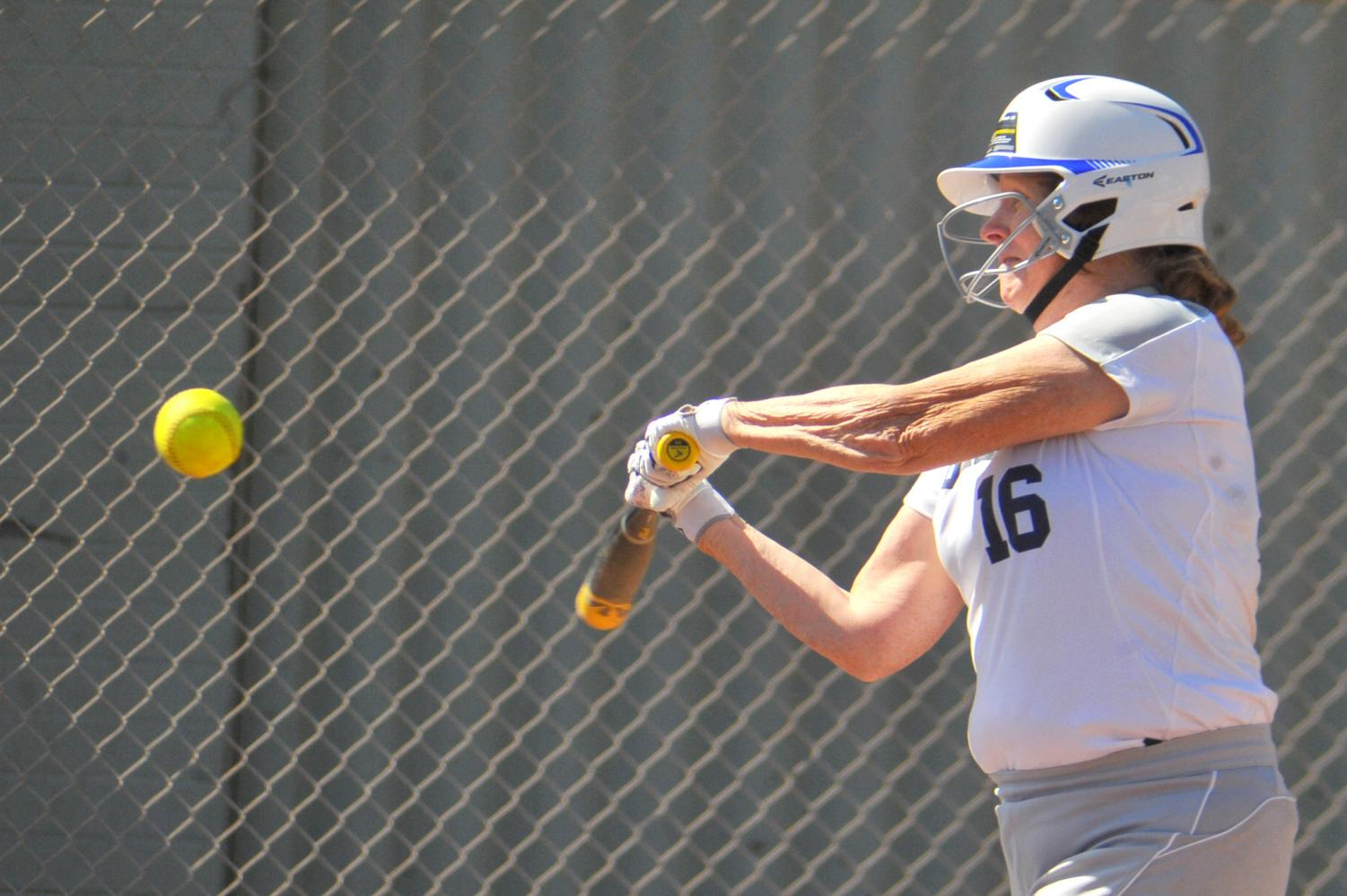 Comet first baseman Shelly Walker fouls a pitch back during the bottom of the 2nd inning of a 15-2 loss against Yuba College Thursday on the Softball Field.