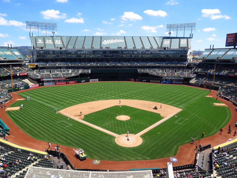 Oakland Athletics' home stadium, McAfee Coliseum, in Oakland, California.
