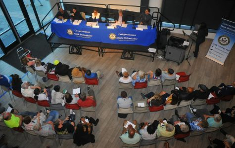 Congressional representatives Mark DeSaulnier (D-Contra Costa County) and Karen Bass (D-Los Angeles) spoke at the conversation on race town hall at Diablo Valley College in Pleasant Hill.