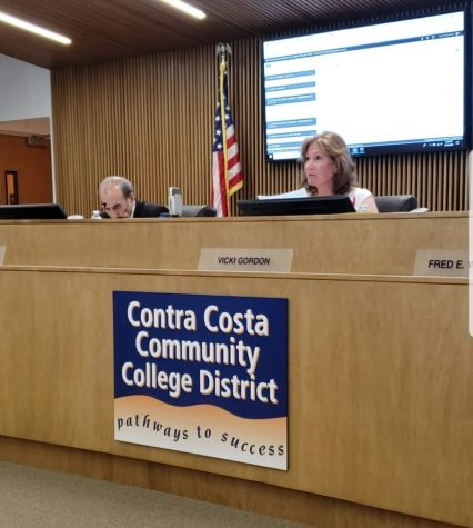 Governing Board President Vicki Gordon announces Dr. Katrina VanderWoude resignation during a special meeting of the Governing Board held on Aug. 14 at the District Office in Martinez.