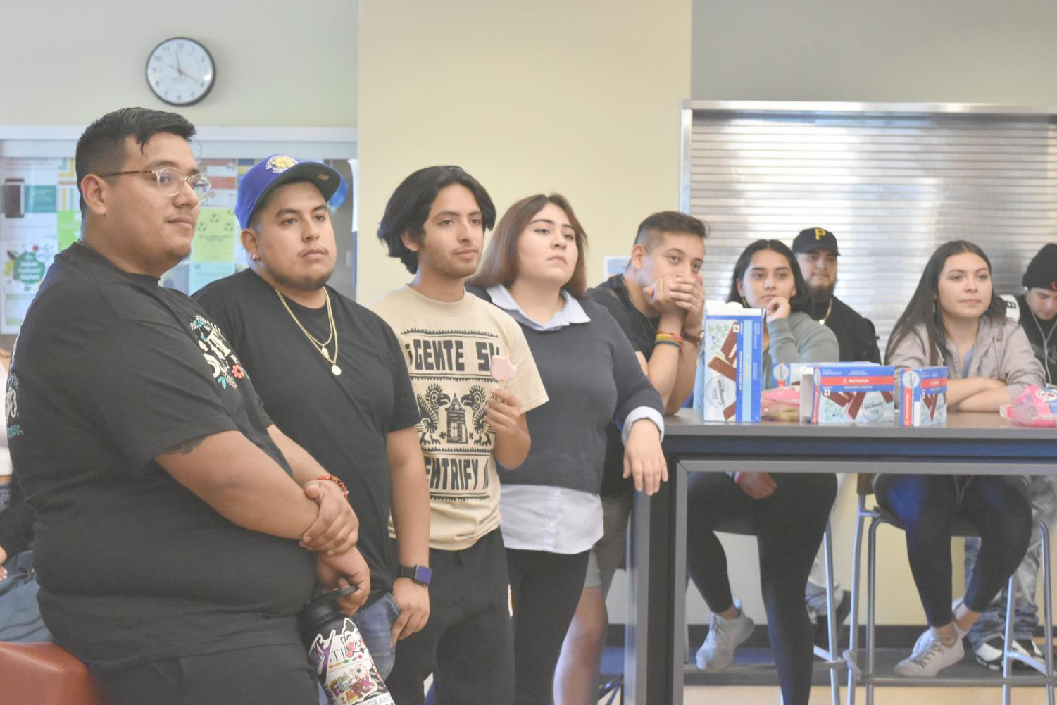 Students gathered in the Student Lounge to share ice cream sandwiches and Mexican paletas during the Bienvenida Ice Cream Social event