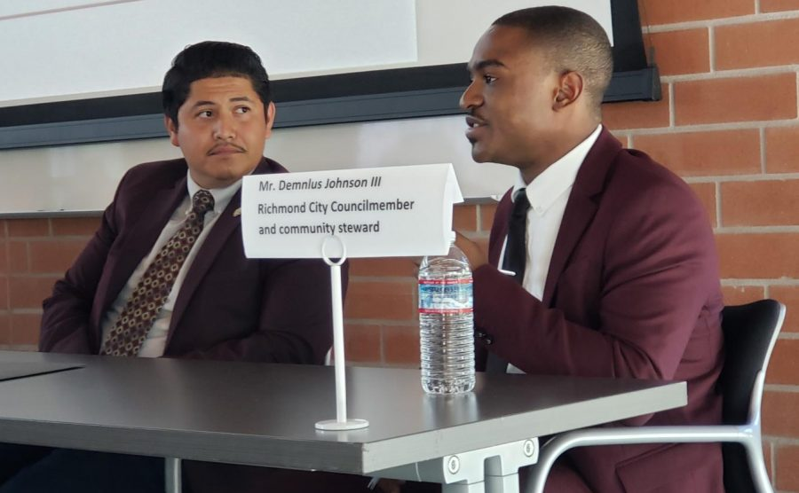 San Pablo City Council member Abel Pineda (left) and Richmond City Council member Demnlus Johnson talk about their experience as council members during the Constitution Day event held Sept. 17 in Fireside Hall.
