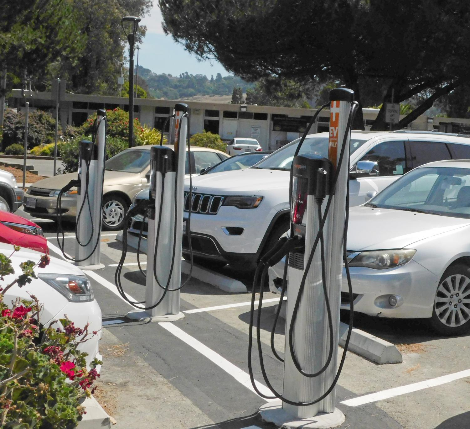 Six electric car charging stations were installed during the summer in Lot 9.