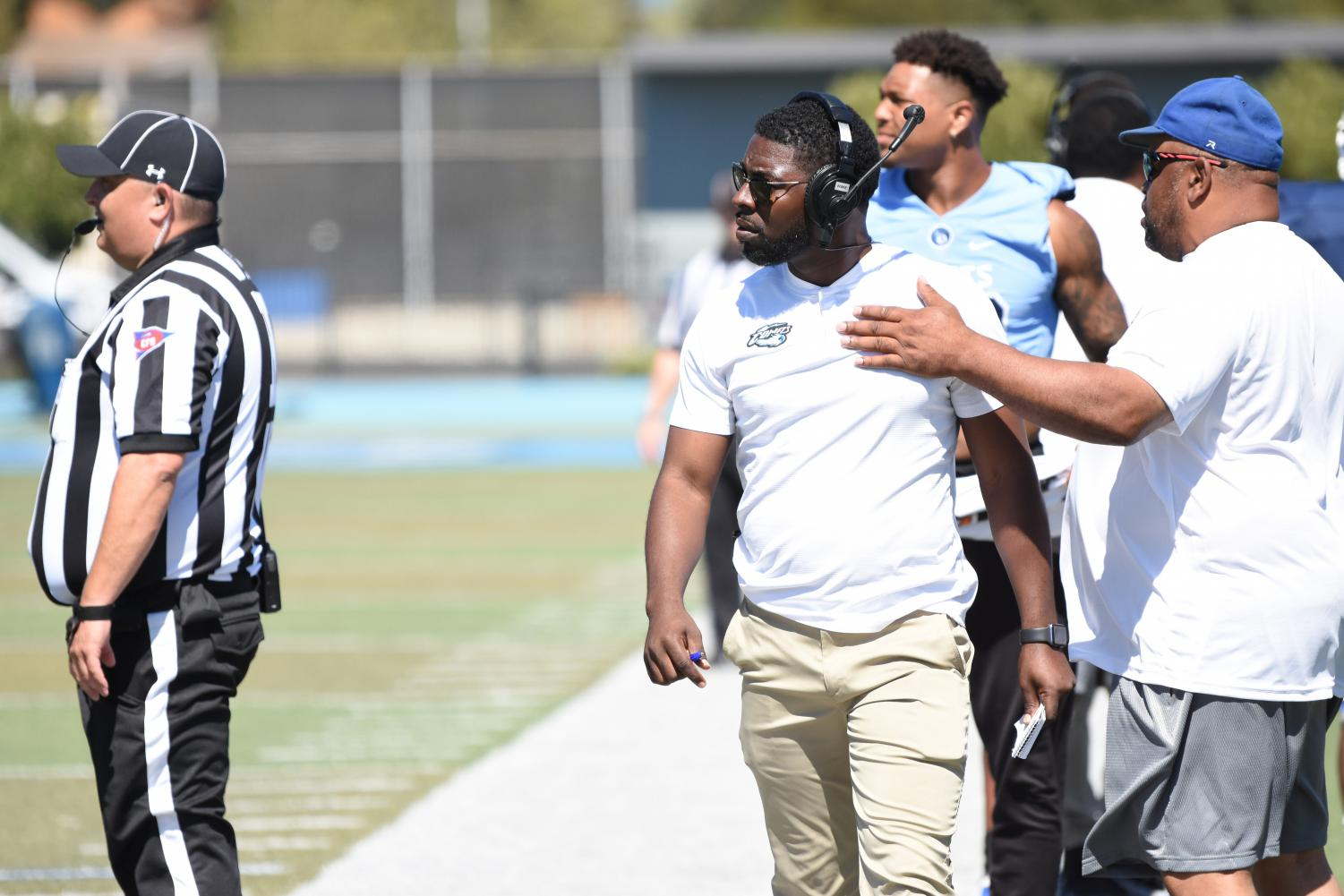 Contra Costa College coach Pat Henderson  walks down the Comet sideline after  a dispute with an official after a call against the Comets during the football team's 48-10 home opening defeat at the hands of Monterey Peninsula College on Saturday.