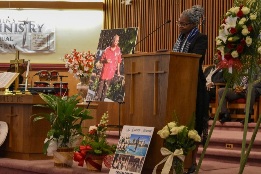 Health and Human Services chairperson Aminta Mickles reminisces about professor Stephen Greer's legacy during his memorial service on June 12 in Vallejo.