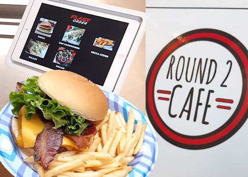 New touchscreen tablets are installed at the counter to make ordering food faster and more efficient. A bacon cheeseburger and classic fries are shown above.
