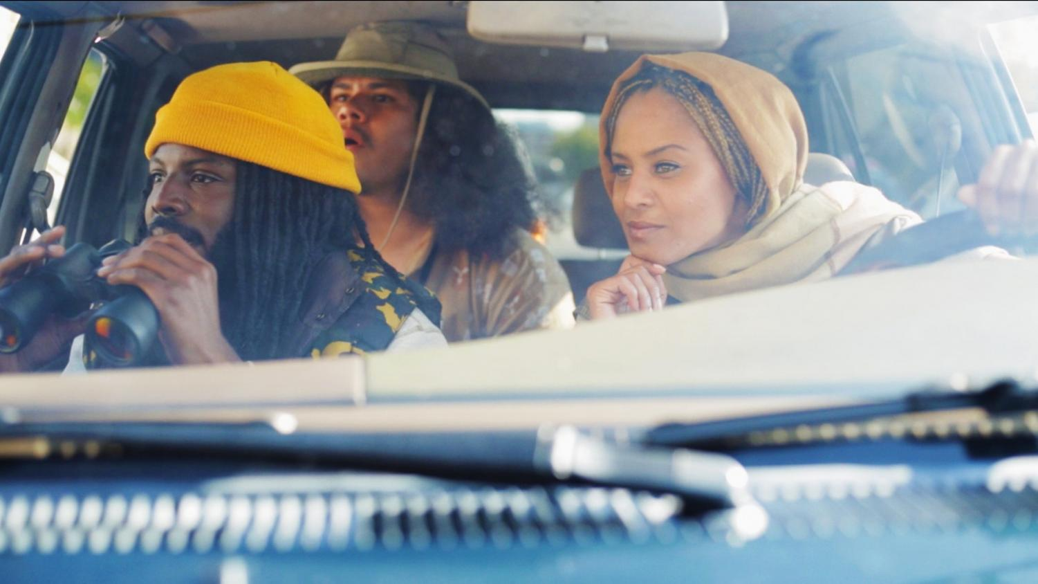 """Marcus, played by Dontae Clark (left), Benny, played by Santiago Rosas (middle), and Nina, played by Reyna Amaya (right) deliver biting satire in the new comedy webseries """"The North Pole."""""""
