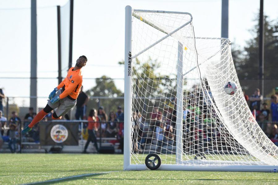 Oakland Roots goalkeeper Jairo Zermeno watches a ball go in the net during the 4-2 win for the FC Juarez Bravos in Oakland, California on Sept. 8.