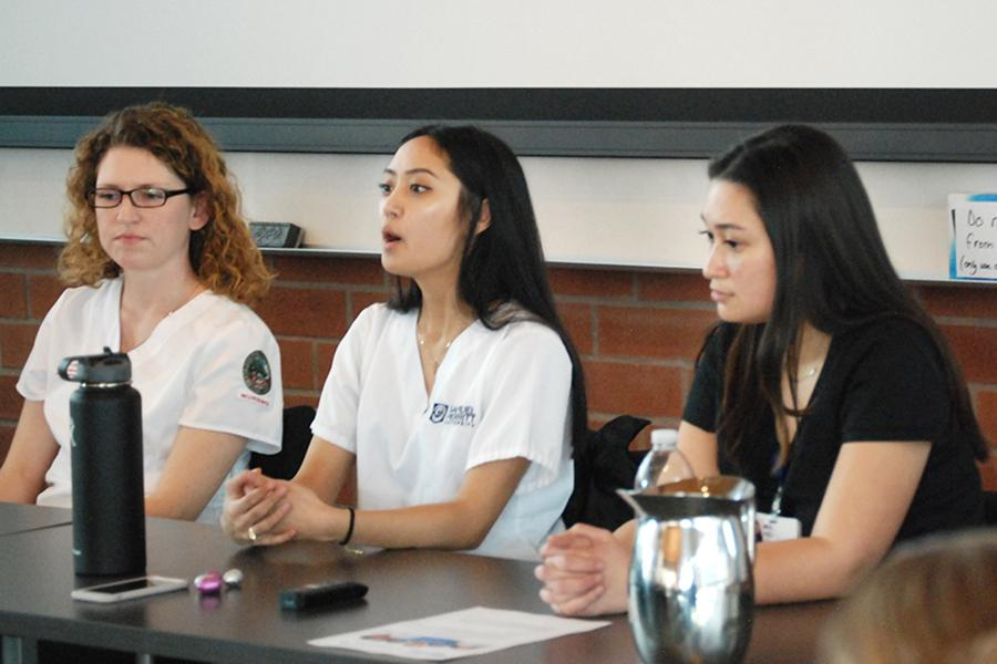 Krystle Mendoza (center) emphasizes the need of internships in order to build a resumé to Contra Costa Community College District students during a forum at Fireside Hall in 2017.