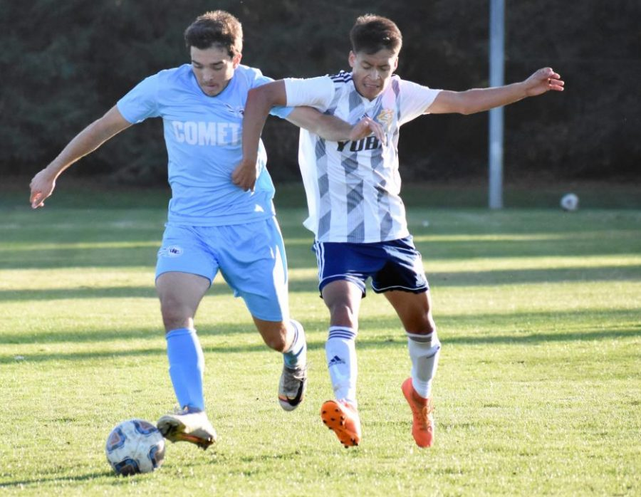 Comet midfielder Nick Silva dribbles up the field as Yuba College 	midfielder Salvador Ramirez pressures him during Contra Costa College's 2-1 Bay Valley Conference loss at home Friday.