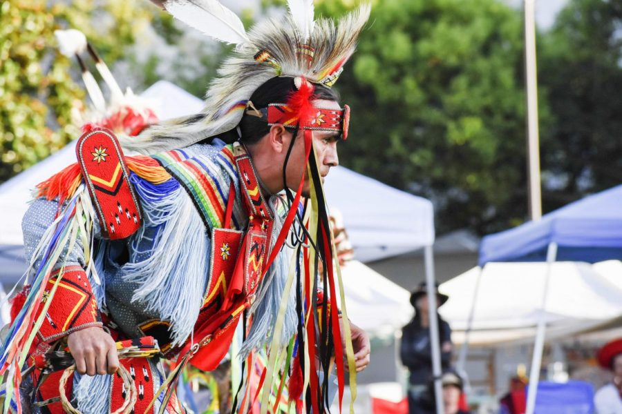 An adult contest dancer competes during the Berkeley Indigenous Peoples Day Pow Wow on Oct. 12 at Martin Luther King Civic Center Park in Berkeley, California.