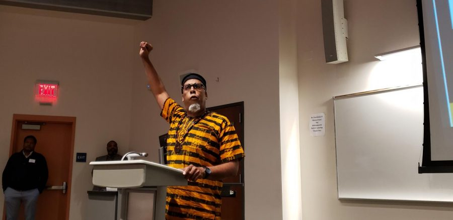 Professor Elliott Spirit encourages students to get educated and advance their knowledge of people of African descent during the Contra Costa College African American Male Symposium held Friday in GE-225.