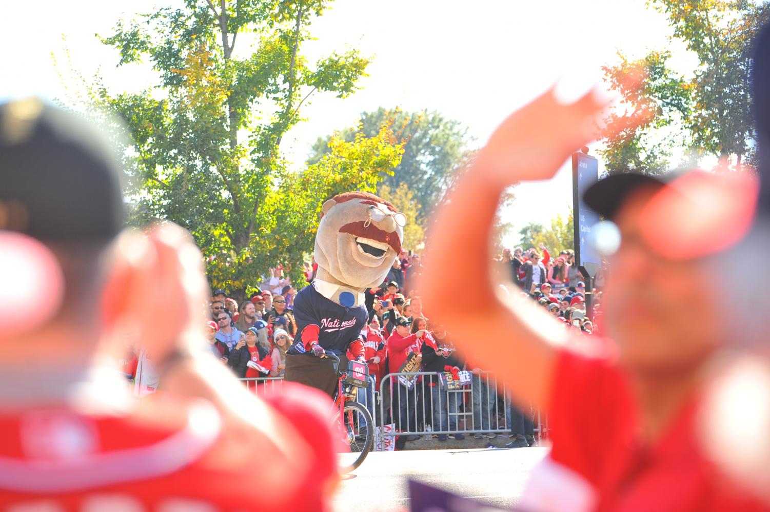 A+Theodore+%E2%80%9CTeddy%E2%80%9D+Roosevelt+mascot+rides+a+bike+during+the+Washington+Nationals+World+Series+parade+in+Washington+D.C.+on+Nov.+2.