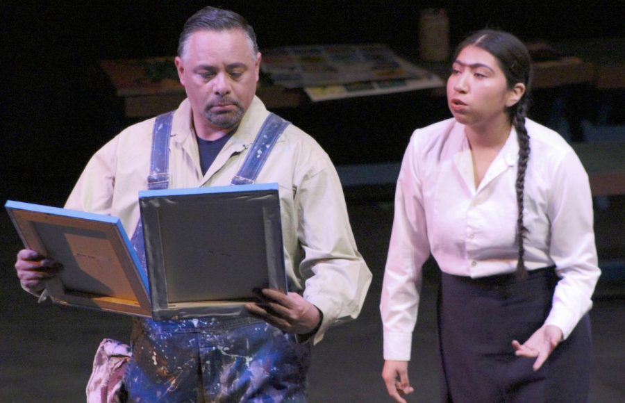 "A young Frida Kahlo, played by Vanessa Crisostomo Garcia (right), shows Diego Rivera, played by Carlos-Manuel Chavarria, her artwork during ""Frida Kahlo: The Artist; The Woman"" in the Knox Center on Oct. 24."
