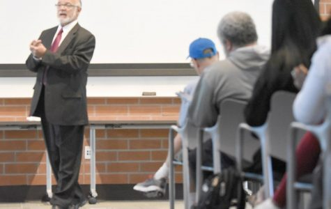 CCC interim president finalist Gholam Javaheripour speaks during the finalists forum at Fireside Hall on Oct. 25.